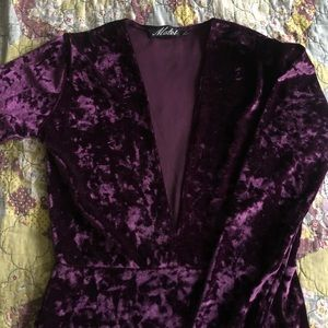 ASOS Dresses - ASOS Crushed Velvet Deep V Bodycon Mini Dress